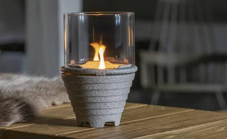 Schmelzfeuer® Indoor Granicium® mit Windglas-Aufsatz