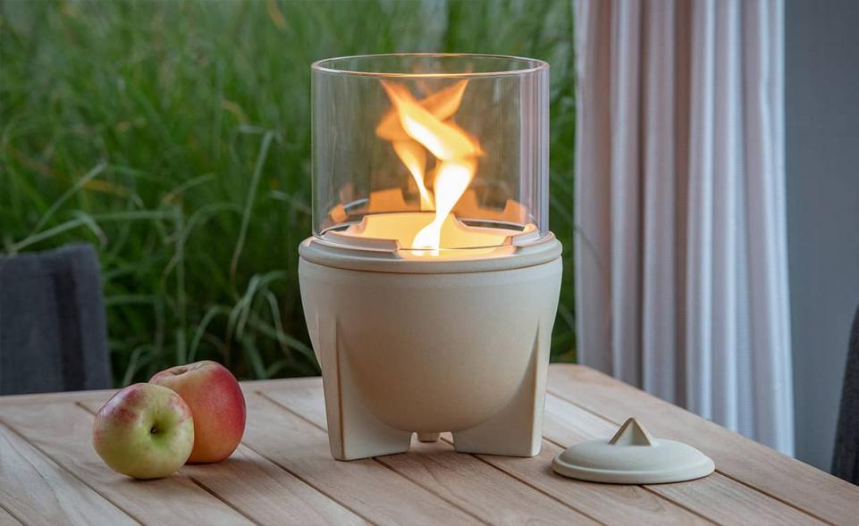 Schmelzfeuer® Outdoor CeraNatur® mit Lichtglas-Aufsatz